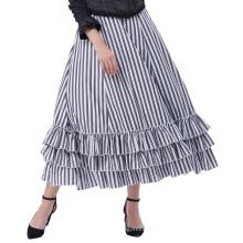 Belle Poque Estilo retro gótico negro y blanco del estilo de las rayas azules de la falda BP000354-1