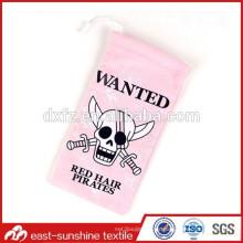 Promocional cutom digital de impresión de color rosa regalo chino / gafas de limpieza bolsas fabricante