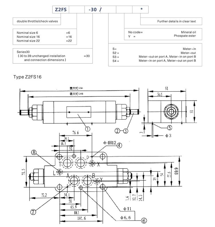 Z2FS16 Hydraulic Flow Adjustment Control Valves