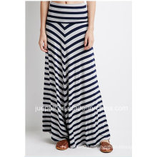 Fashion Striped Fold-Over Raw-Cut Hem Long Maxi Skirt