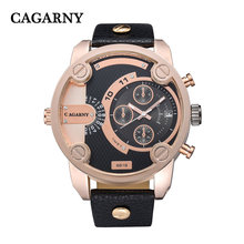 Cagarny Gold Case Reloj para hombres Pushers Annd 2crowns