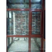 Фошань Вудвин Лиственница Деревянное окно с двойным закаленным стеклом