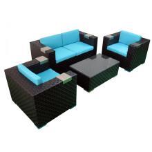muebles de jardín al aire libre cubo de mimbre conjunto de sofás