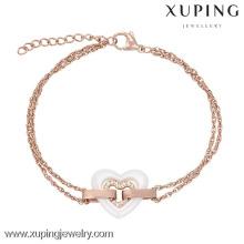 74098-joaillerie fabricant de bijoux de la Thaïlande plaqué or, coeur, filles, bracelets fantaisie
