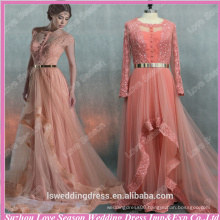 RP0094 Coral color evening dress keyhole back gold band women sexy real picture long sequin prom dress