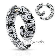 UV Acrylic Ear Stretcher Piercing Logo Print Fake Spiral