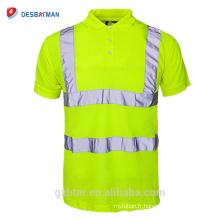 Chine En Gros 100% Polyester Sécurité Réfléchissante Haute Visibilité Polo Bouton Chemise À Manches Courtes Salut Vis Sécurité Travail T-shirt
