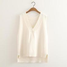 Chaleco de punto con cuello en V de mujer suéter de estilo nuevo personalizado