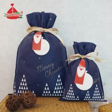 Темно-синяя рождественская подарочная сумка