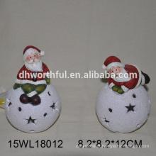 2016 Natal cerâmica ornamento com santa e neve bola