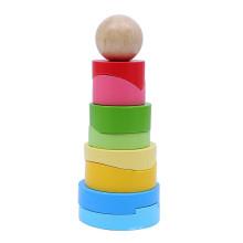 FQ marque personnalisée tour arc-en-ciel jouer bébé bambin en bois bloc de construction empilable