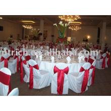 couverture de chaise de polyester 100 %, couverture de chaise de banquet/hôtel/mariage, ceinture en Satin de chaise