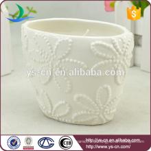 Blumen-Design Weiße Keramik Kerze Inhaber Großhandel