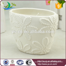 flower design White ceramic candle holders wholesale