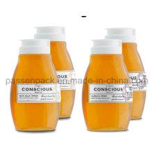 500g pet plástico espremer garrafa de mel com tampa de válvula de silicone branco