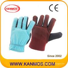 Arco-íris cosido algodão luvas de trabalho de segurança industrial (41019)