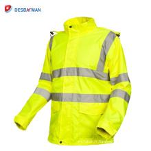 Imperméable à l'eau imperméable de sécurité de chaussée de veste imperméable de haute visibilité des hommes avec les bandes réfléchissantes et les poches hiver