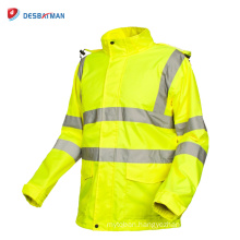 Mens High Visibility Waterproof Jacket Roadway Security Raincoat with Reflective Strips and Pockets Winter