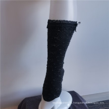 Elegant Charming Black Stretch Embroidery Lace Crew Socks