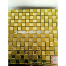 hangzhou yellow glass mix metal decorative mosaic tiles