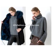 Suéter de las mujeres sólidas del suéter de la alta manera del cuello alto de punto de la cachemira