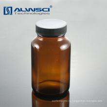 Широкий рот 60мл известково-Янтарная стеклянная бутылка для лабораторного использования