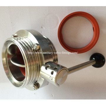 Dn80 Food Grade Sanitary Ss316L Male Butterfly Valve