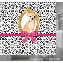 polyester fabric flat screen printing dog shower curtain gift