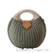 Bolso de la cesta tejida a mano Retro Totes de punto de paja de ratán de mimbre bolso de mimbre embrague