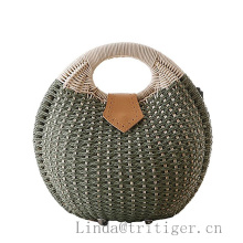 Hand Woven Basket Bag Retro Totes Knitted Beach Straw Rattan Wicker Handbag Rattan Clutch
