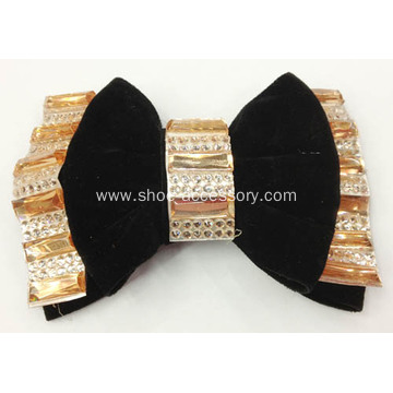 2013 New Bowknot Design Fabric Shoe Flower with Crystal Resin Diamond Mosaic Tile