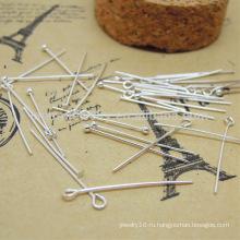 Стерлингового серебра DIY аксессуары номер Девять формы иглы мяч или плоской головой PIN-код SEF008
