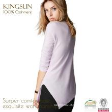 JS-12014 cor pura ronda pescoço magro padrão 100% cachemira senhoras suéter elegante