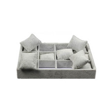 Custom Grey Velvet Watch Tray Pillow Inserts Box