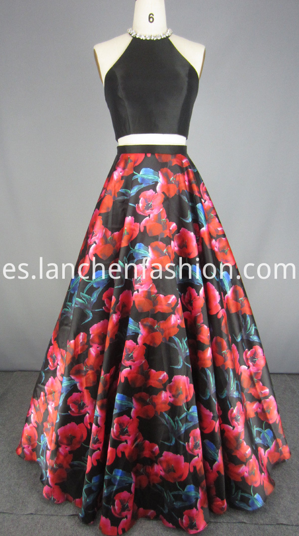 Two Piece Dress Floral Skirt