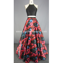 Two Piece Floral Prom Evening Dress 2018