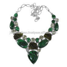 Malachite And Multi Gemstone 925 Sterling Silver Necklace Jewelry