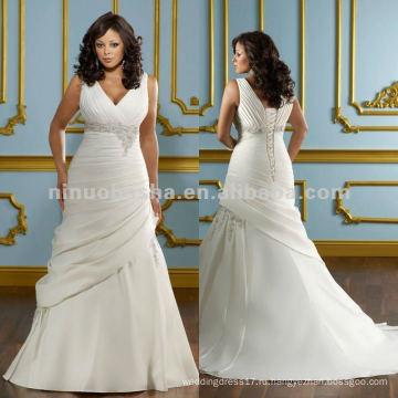 Нью-Йорк-2416 герцогиня сатин с вышивкой свадебное платье