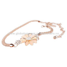 New Style Gold-plated Flower Metal Belts, Customized Designs are Welcome
