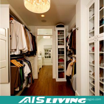 Guarda-roupa do projeto do armário do Walk-in da grão da casa de campo luxuosa da casa de campo para a mobília home (AIS-W455)