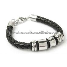 Pulseira de couro forte preto couro genuíno com pulseira de contas de aço