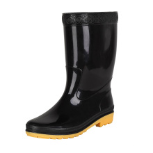Good quality outdoor fashion men gumboots rubber leather gumboot rain boots