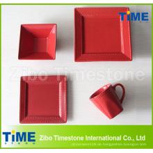 Quadratische Form Steinzeug Farbe Glasierte geprägte Dinner-Set