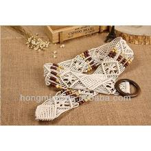 Vintage Style деревянная пряжка парафинированная веревка тканая лента