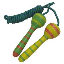 Clássico brinquedo madeira pular alças de corda para saltar