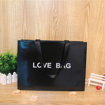Satin Ribbon Handle Full Black Color Paper Bag