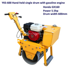 Rodillo compactador de una sola rueda de acero tipo gasolina con operador a pie