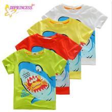 Preço barato verão t-shirt de algodão roupas jovens menino camisa crianças camiseta impressão de tubarão meninos t-shirt