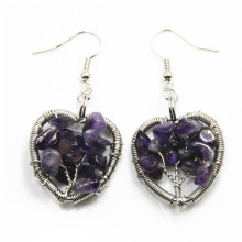 Natural Fasion Heart Shape Tree Of Life Earring Gemstone Chip Woven Earring