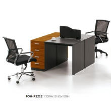 Dark Wood Modular Office Face to Face 2 Staff People Desk with Low Screen
